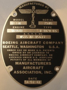 Data plate manufacturing B-17E 'Desert Rat' 1942